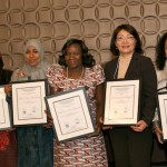 The winners of the 2013 Elsevier Foundation Awards for Early Career Women Scientists in the Developing World are (left to right) Dr. Nasima Akhter (Medical Sciences — Bangladesh), Dr. Huda Omer Basaleem (Community and Public Health — Yemen), Dr. Adediwura Fred-Jaiyesimi (Pharmacology and Medicinal Plants — Nigeria), Dr. Namjil Erdenechimeg (Biochemistry — Mongolia) and Dr. Dionicia Gamboa (Molecular Biology/parasitology — Peru). They are surrounded by Dr. Shirley Malcom, Head of Education and Human Resources for AAAS (back left); David Ruth, Executive Director of the Elsevier Foundation; Professor Maya de la Torre, VP, Latin America, OWSD; and Dr. Romain Murenzi, Executive Director of TWAS. (Photos by Alison Bert)