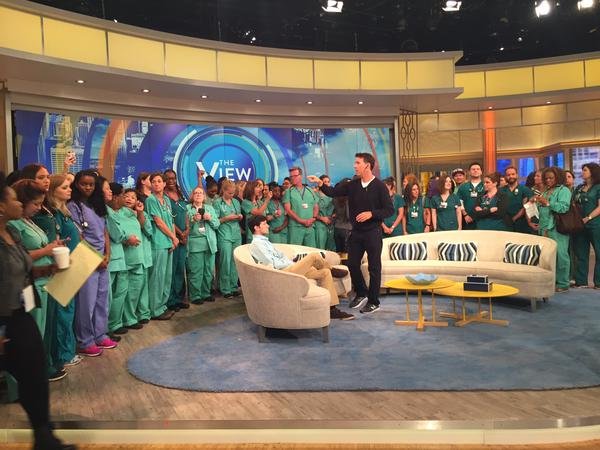 Nurses on the set of the view in advance of the live show today. (Photo via Larry Slater, PhD, RN, CCRN @LZSlater on Twitter)