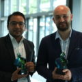 First prize winner Prajwal Rabhindari, President of the Research Institute for Bioscience & Biotechnology (RIBB) in Nepal, and second prize winner Dr. Alessio Adamiano, a researcher at the Italian National Research Council (CNR), pose with their awards.