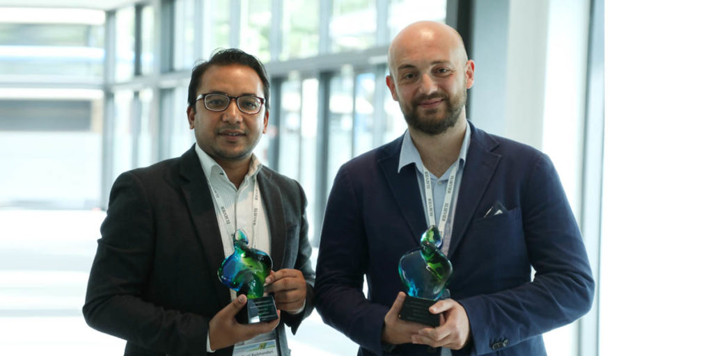 First prize winner Prajwal Rabhindari, President of the Research Institute for Bioscience & Biotechnology (RIBB) in Nepal, and second prize winner Dr. Alessio Adamiano, a researcher at the Italian National Research Council (CNR), pose with their awards